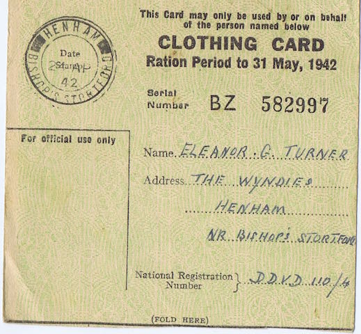 1942 clothing card