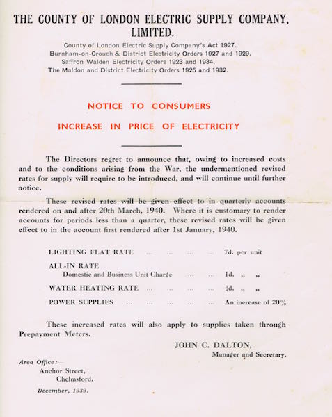 wartime electricity price increase