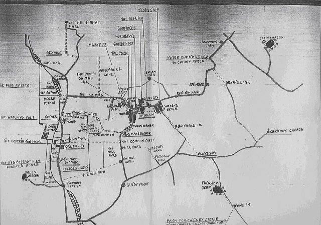 William White's (born 24th Aug 1903) hand-drawn map of Henham